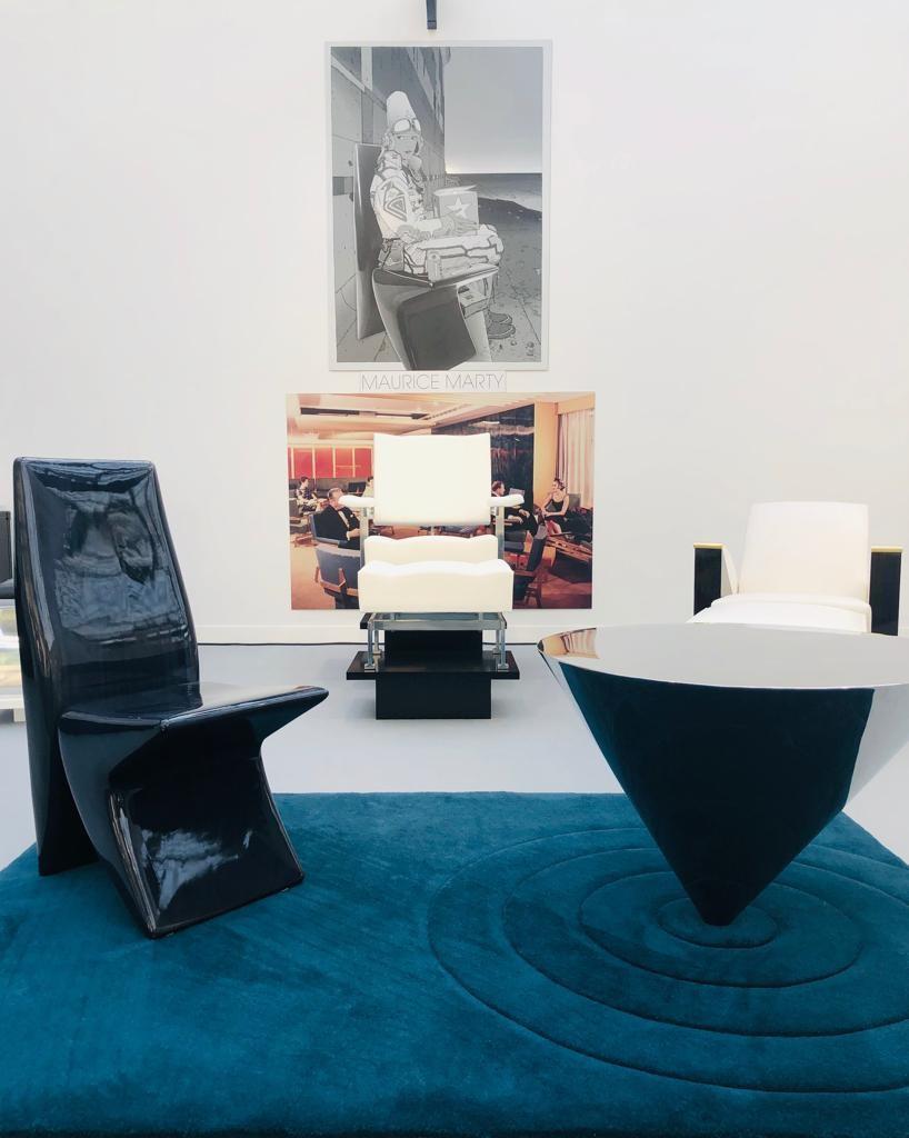 Table Î-cone tapis et chauffeuse Moebius henryot & cie révélations 2019 design MARTY